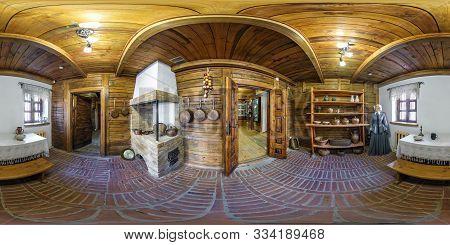 Grodno, Belarus - May 2019: Full Spherical Seamless Hdri Panorama 360 Degrees Inside Interior Of Old