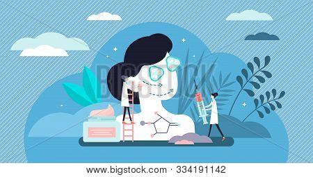 Antiaging Vector Illustration. Beauty Procedure In Flat Tiny Persons Concept. Female Skin Lifting Cr