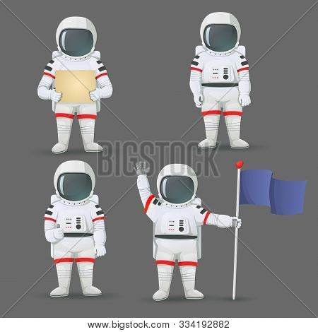Set Of Astronauts Standing With Different Gestures: Giving Thumbs Up, Holding Sign, Flag, And Waving