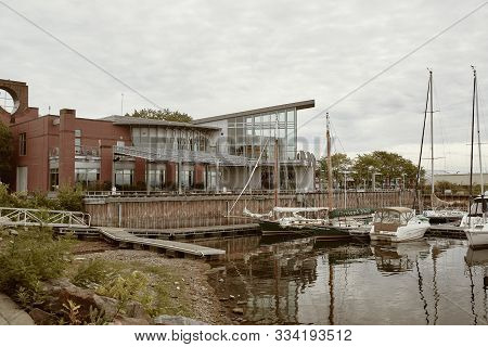 Burlington, Vermont - September 29th, 2019:  Marina On Lake Champlain Near Echo, Leahy Center For La