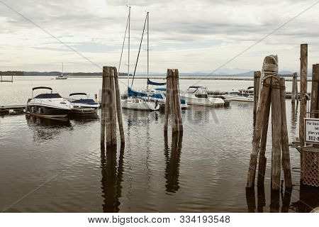 Burlington, Vermont - September 29th, 2019:  View Of Lake Champlain Waterfront On A Cool Fall Day In