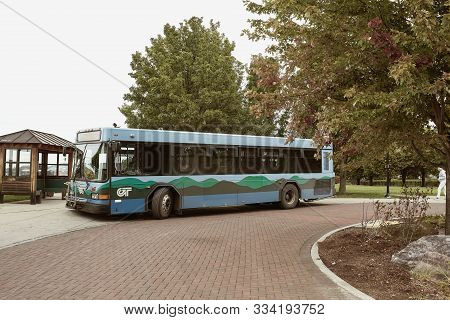 Burlington, Vermont - September 29th, 2019: Public Bus In The Waterfront District Of Burlington, Ver
