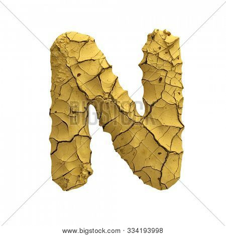 Soil clay letter N - Uppercase 3d cracked ground font isolated on white background. This alphabet is perfect for creative illustrations related but not limited to Nature, dryness, global warming...