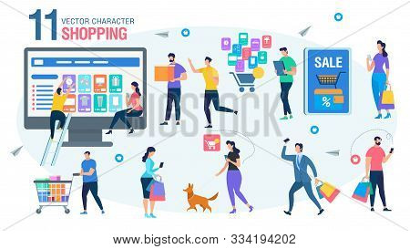 Shopping Online People Trendy Flat Vector Characters Set. Men And Woman Characters Choosing Goods In