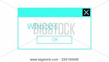 Neon Error Message Window. System Glitch Dialog Box Popup.