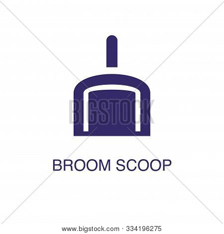 Broom Scoop Element In Flat Simple Style On White Background. Broom Scoop Icon, With Text Name Conce