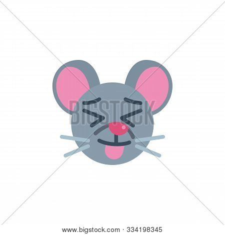 Stuck-out Tongue Mouse Face Emoji Flat Icon, Vector Sign, Showing Tongue Rat Emoticon Colorful Picto