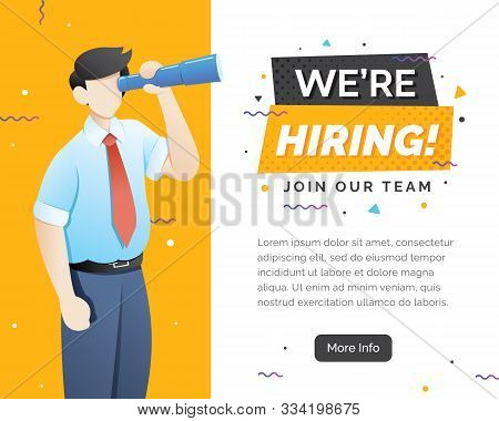 We Are Hiring Concept With Character. We Are Hiring Concept Banner, Now Hiring Banner Vector Illustr