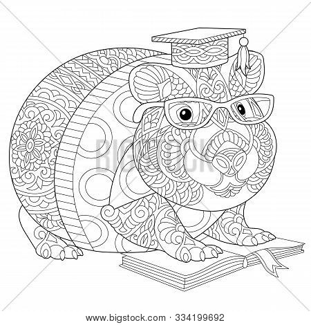 Coloring Page. Coloring Book. Colouring Picture With Hamster Or Guinea Pig Reading A Book. Line Art