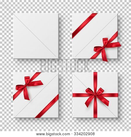 Gift Boxes, Presents Realistic Vector Illustration. Birthday, Christmas Holiday, Wedding Anniversary