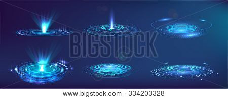 Futuristic Elements Fui, Gui, Hud. Set Abstract Circle Hi-tech. Projector, Hologram Ui Elements Virt