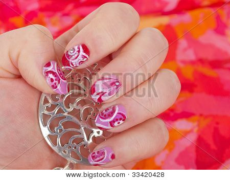 Art Modern Pink Abstract Manicure