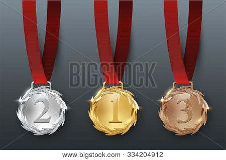 Award Golden, Silver And Bronze Medals With Ribbon 3d Realistic Illustration. First, Second And Thir