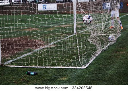 Odessa, Ukraine-circa 2019: The Official Soccer Ball Of The Tournament Season On The Grass Of The So