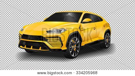 Geneva, Switzerland - March 2018: Lamborghini Urus Super Suv Driving In Suburban Geneva. Vector Illu