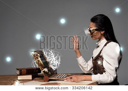 Steampunk Woman In Goggles Waving Hand During Video Chat With Glowing Digital Illustration Isolated