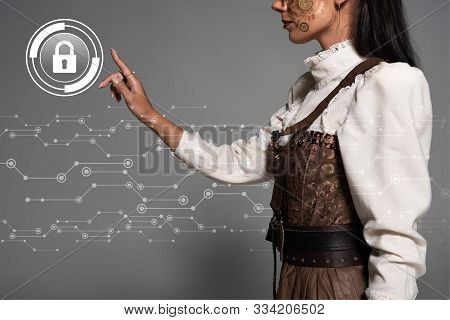 Cropped View Of Steampunk Young Woman Pointing With Finger At Lock Illustration