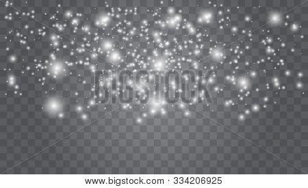 Christmas Snow. Falling Snowflakes  Holiday Winter Background For Xmas Snow Flake Pattern. Magic Whi