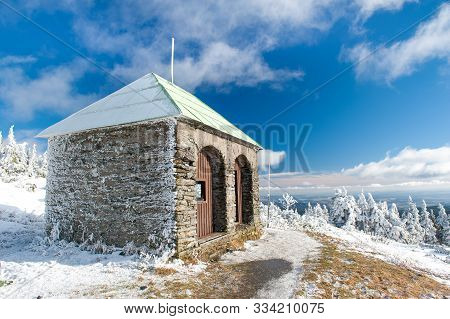 Stone Hut / Shelter Jeleni Studanka In Jeseniky Mountains In Czechia During Nice Winter Day With Cle
