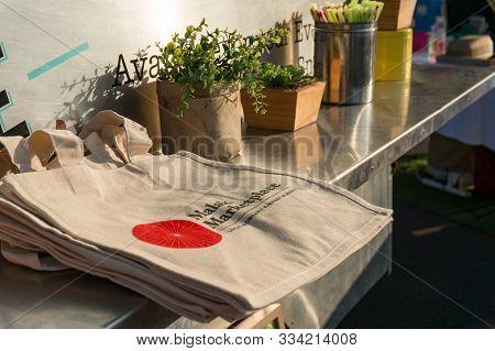 Darwin, Australia - June 1, 2019: Reusable Textile Shopping Bags On Malak Farmers Market In Darwin,