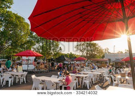 Darwin, Australia - June 1, 2019: Malak Marketplace In Darwin. People Enjoying Themselves At Malak F