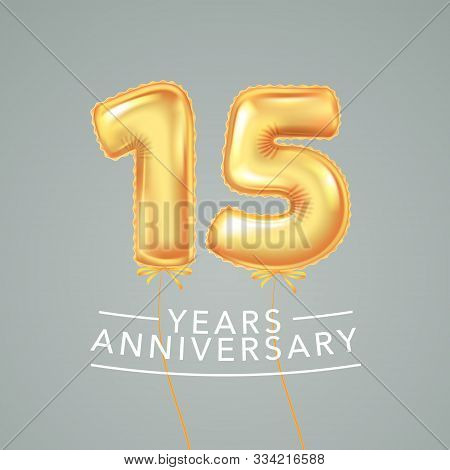 15 Years Anniversary Vector Logo, Icon. Template Banner With Air Hot Balloon For 15th Anniversary