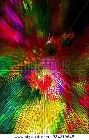 Crew Multicolored Abstraction With Effect Of Extrusion In Yellow, Pink, Green And Red Colours For Ar