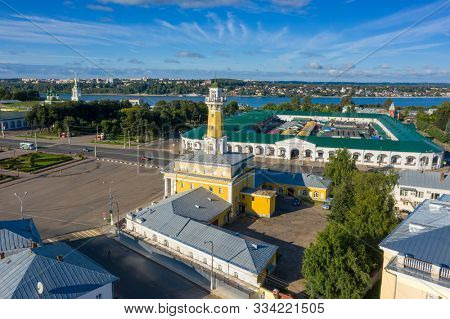 Aerial view of the Fire tower in historical center of ancient town Kostroma in Russia