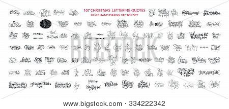 Christmas Hand Drawn Ink Lettering Vector Greeting Quotes. Merry Christmas And Happy New Year Big Te