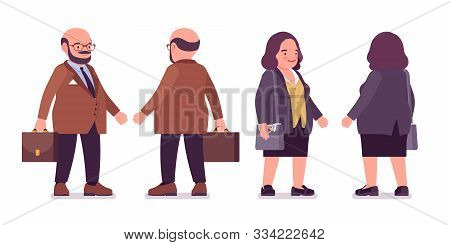 Chubby Heavy Man And Curvy Woman With Belly Standing. Overweight And Fat Body Shape, Round Kind Civi