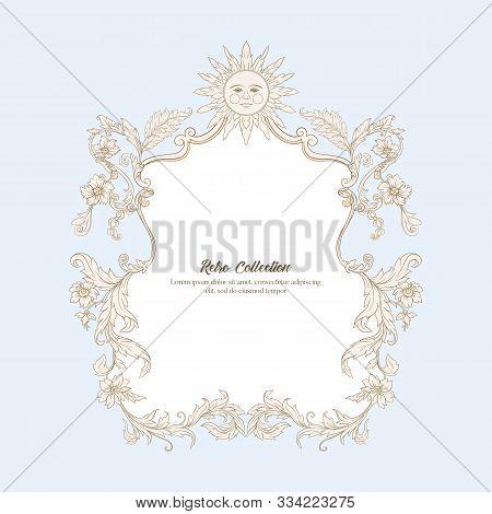 Border, Frame Label In Baroque, Rococo Victorian Renaissance Style. Trendy Floral Vintage Pattern. V