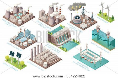 Alternative Energy And Power Plants And Green Electric Energy Generation Stations, Vector Isometric