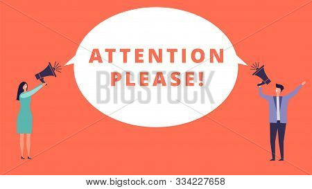 Attention Please. Tiny People Hold Megaphones And Banner With Important Message. Attention Vector Co