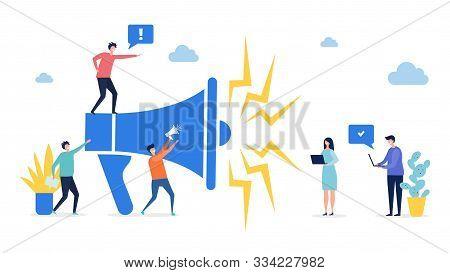 Promotion Concept. Target Marketing, Social Network Advertising Vector Illustration. Flat Tiny Peopl