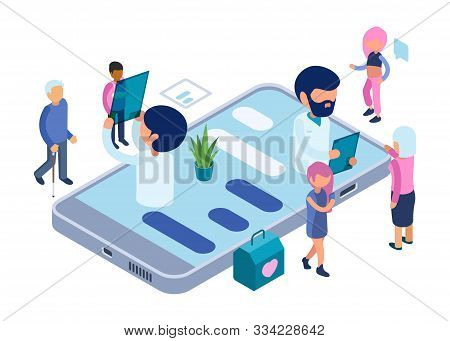 Online Diagnosis. Healthcare Vector Concept. Isometric Doctors And Patients. Online Medical Diagnost