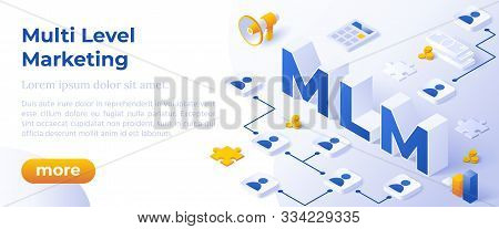 Mlm. Multi Level Marketing Business Concept With Big Letters Mlm And Digital Devices. Isometric Mode