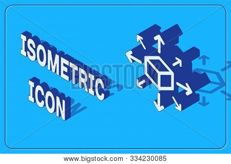Isometric Distribution Icon Isolated On Blue Background. Content Distribution Concept. Vector Illust
