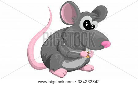 Rat. Isolated Vector Painted In A Flat Style On A White Background. Nice Mouse. Animal, Rodent. Year