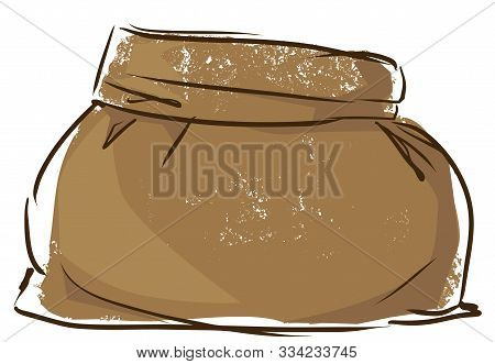 Canvas Sack Isolated On A White Background. Hand Drawn Bag. Vector Stock Illustration. Filled Burlap