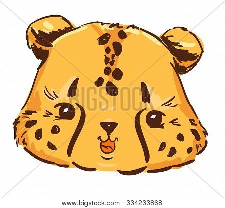 Sketch Cute Cheetah Isolated On White Background. Cartoon Character Childish For Children, Textiles,