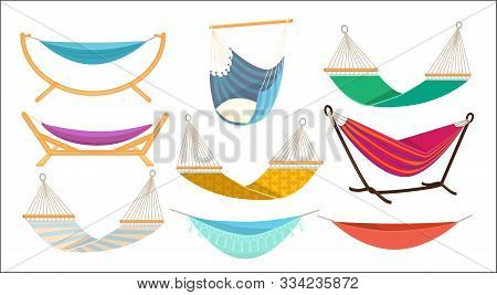 Hammock. Relax Time In Outdoor Decorative Colorful Fabric Hammock Hanging Swing Comfortable Rest Pla