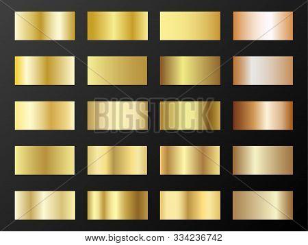 Gold And Bronze Gradients Vector Mega Set. Metallic Gold Foil Texture Gradient Swatch Templates. Shi