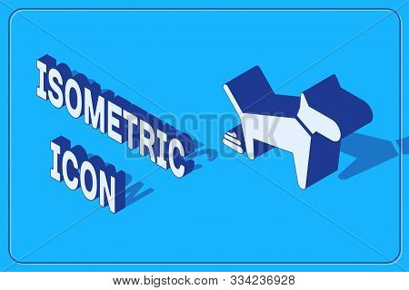 Isometric Dog Pooping Icon Isolated On Blue Background. Dog Goes To The Toilet. Dog Defecates. The C