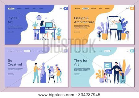 Art Work Landing Page. Architecture Design Drawing Sculpting Vector Concept. Flat Creative People Ch
