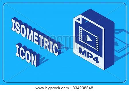 Isometric Mp4 File Document. Download Mp4 Button Icon Isolated On Blue Background. Mp4 File Symbol.