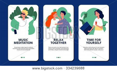 Relax Banners. Happy People Relaxing Meditation Pamper Themselves. Relax Theme For Mobile App Vector