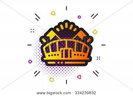 Stadium With Flags Sign. Halftone Circles Pattern. Sports Arena Icon. Sport Complex Symbol. Classic
