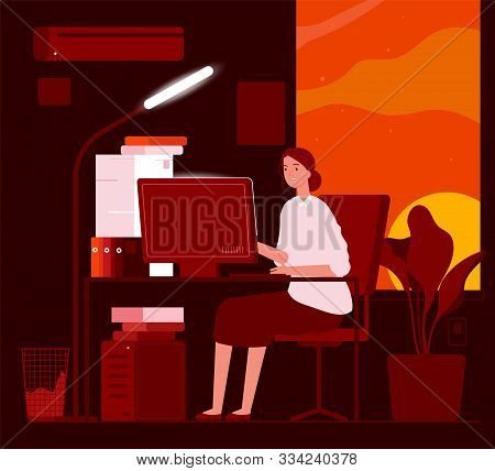 Woman Night Office. Business Female Characters Late At Work Hard Work In Piles Of Paper Documents Ve