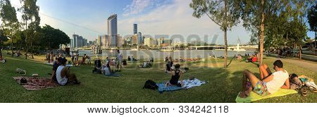Brisbane, Queensland, Australia - 16th November 2019 : Beautiful Panoramic View Of The River Quay Gr