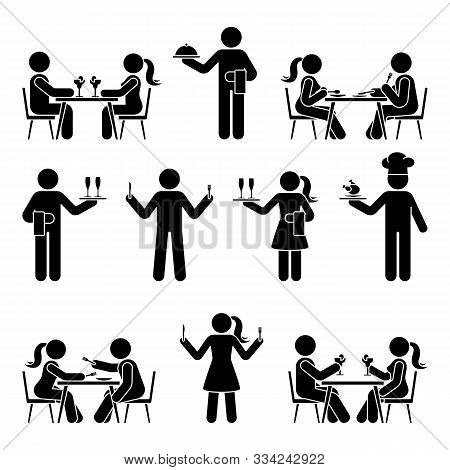 Stick Figure Man And Woman, Chef Cook, Waitress, Waiter Vector Icon Pictogram Set. Eating, Sitting A